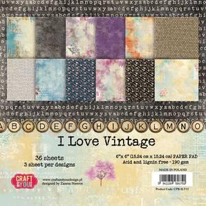 Bilde av Craft & You - ILV15 - I Love Vintage - 6x6 Paper Pad