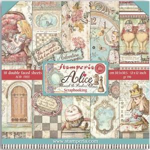 Bilde av Stamperia - 12x12 Paper Pack - 93 - Alice Through the Looking Gl