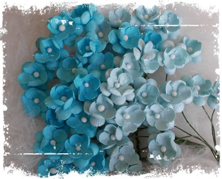 Papirdesign - Søte blomster turkis