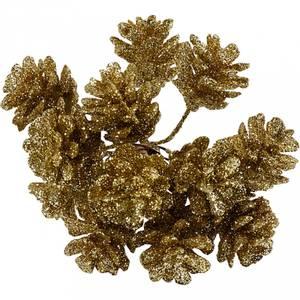 Bilde av Creotime - Pynte kongler - Glitter - dia. 20 mm - Gull