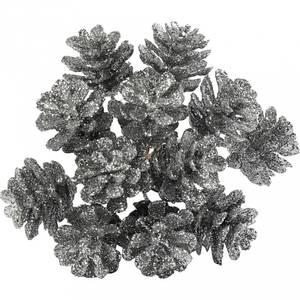 Bilde av Creotime - Pynte kongler - Glitter - dia. 20 mm - Sølv