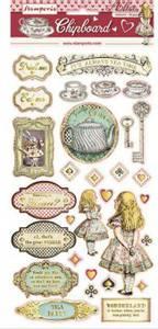Bilde av Stamperia - Chipboard 15x30cm - 12 - Alice w/gold foil